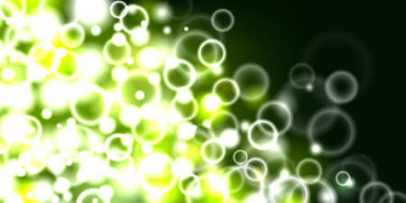 Green glowing bubbles, flying in a space Vector