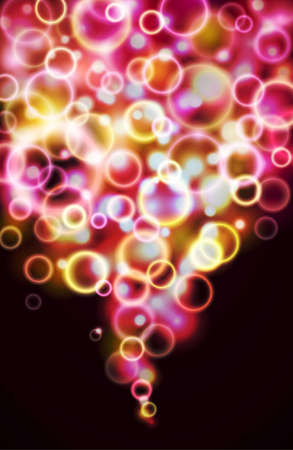 Glowing abstract banner with flying bubbles Vector