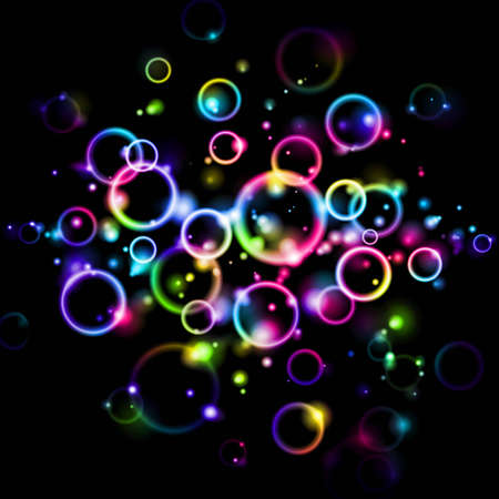 Abstract background with glowing rainbow bubbles Illustration