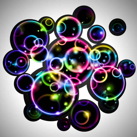 Abstract background with glowing rainbow bubbles Vector