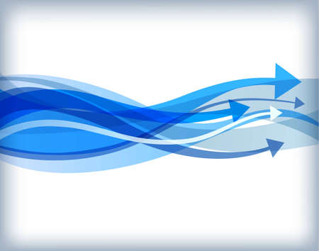 Abstract background with blue wavy arrows Illustration