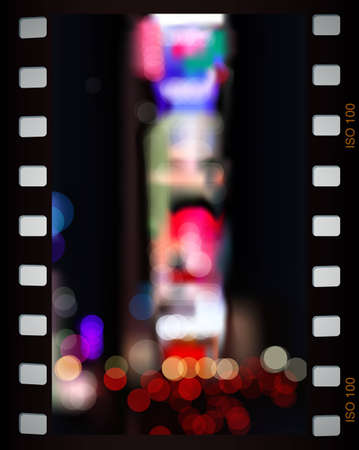 time square: Time Square night lights in film frame