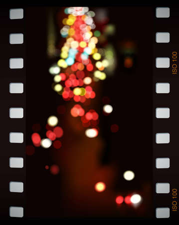 city lights: Abstract background, city lights in film frame