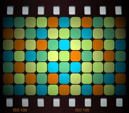 Abstract background in retro colors surrounded by film frame Vector