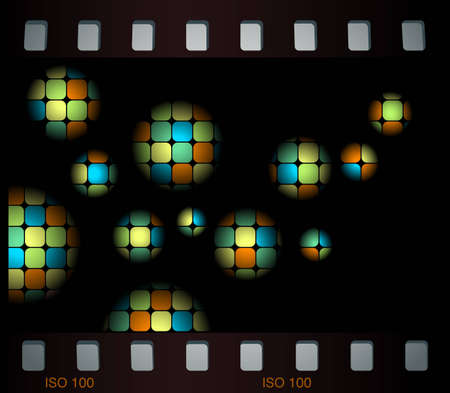 Abstract background with mosaic balls in film frame Vector