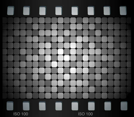 Black and white mosaic pattern in film frame Vector