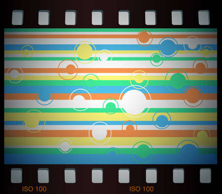 Retro striped background in film frame Vector
