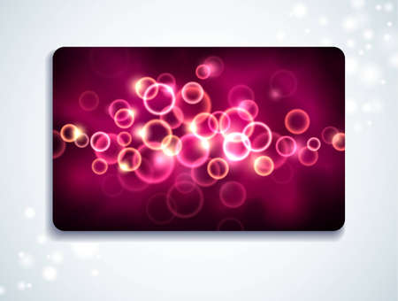 Glowing gift card with bubble pattern