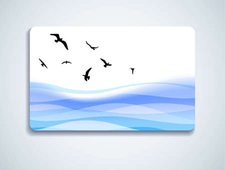 giftcard: Gift card with seagulls flying above the sea Illustration