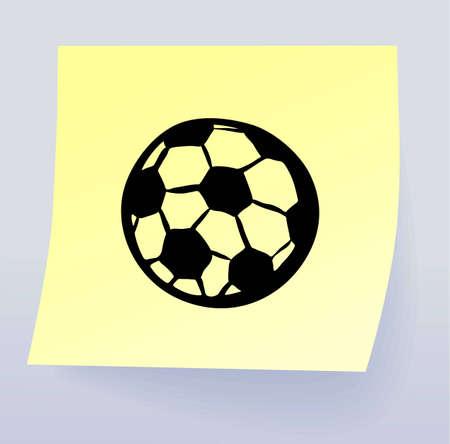 pelota caricatura: Nota con el dibujo de un eps8 de pelota de fútbol