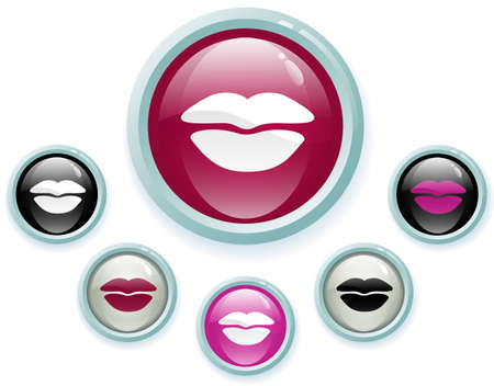 Set of glossy kiss buttons, vector eps10 illustration with use of transparency and gradients Vector