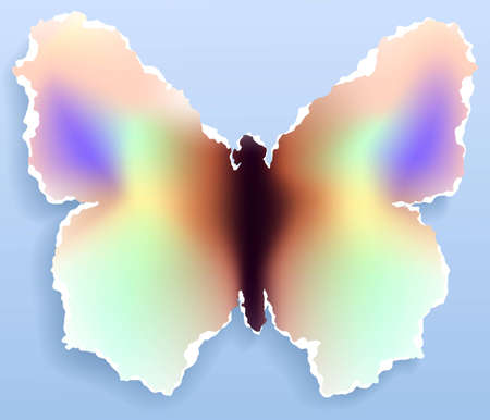 Torn paper butterfly, vector eps8 illustration with use of gradient mesh and linear gradient Stock Vector - 9487665