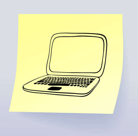 sticky note: Laptop, drawing on sticky note, vector eps8