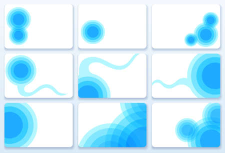 Set of nine blue business cards, vector illustration