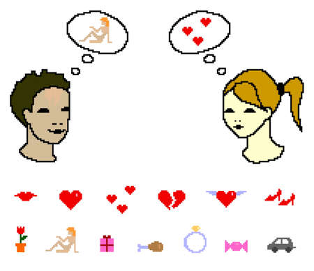 First date, pixel vector illustration with young couple and comic bubbles, eps8 Vector