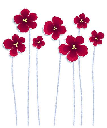 poppy field: Flores de papel rasgado, vector eps8 ilustraci�n Vectores