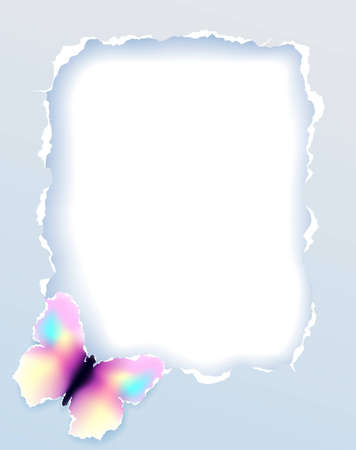 Torn paper frame with butterfly, vector eps8 illustration