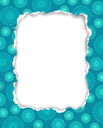 grunge photo frame: Telaio di carta strappata con motivo floreale, vector illustration eps8 Vettoriali