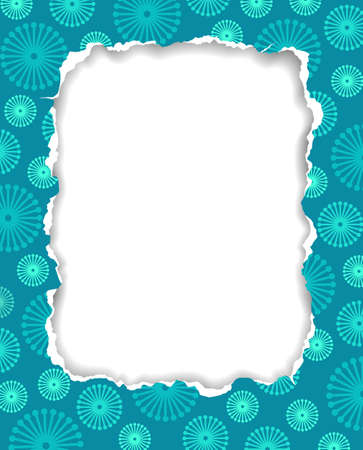romantic picture: Torn paper frame with floral pattern, vector eps8 illustration