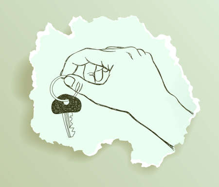 snippet: Hand holding a key, drawing on torn paper, vector eps8 illustration Illustration