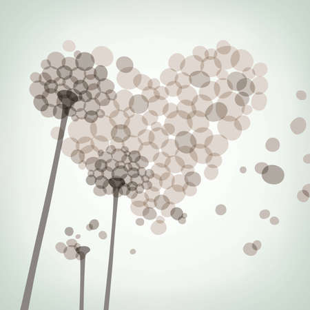 Dandelion heart greeting card, vector eps8 illustration Vector