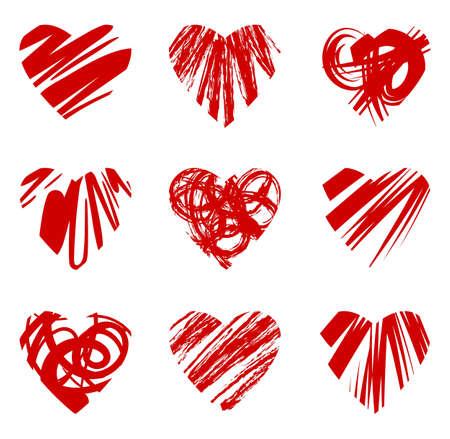 day care: Set di cuore rosso grunge, illustrazione vettoriale eps8