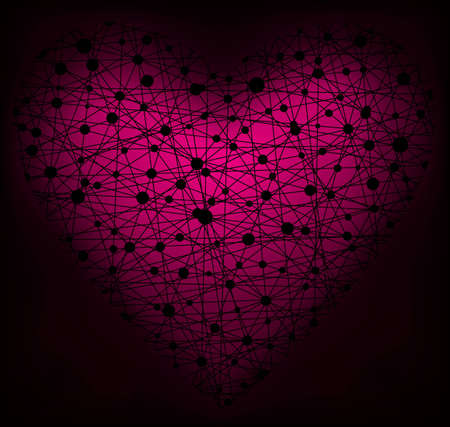 pink and black: Glowing heart made of net, vector eps8 illustration