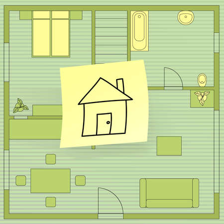 House plan with sticky note, vector eps8 illustration Vector