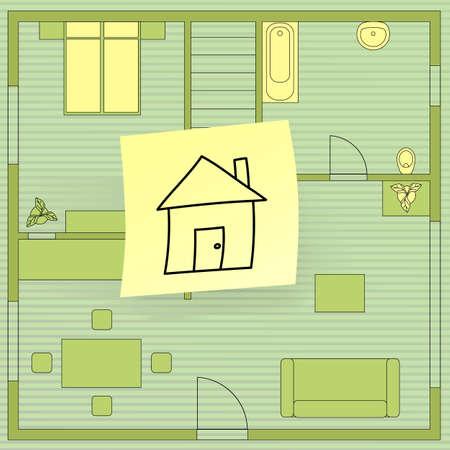 plan maison: Plan de maison avec repositionnable, vecteur eps8 illustration