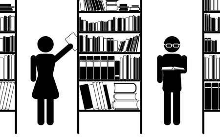 biblioteca: Ilustraci�n eps8 de biblioteca pictograma, blanco y negro, vector
