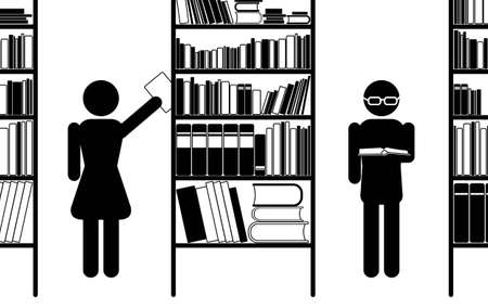 textbooks: Library pictogram, black and white, vector eps8 illustration Illustration