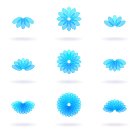 Set of nine flower icons, vector eps8 illustration Illustration
