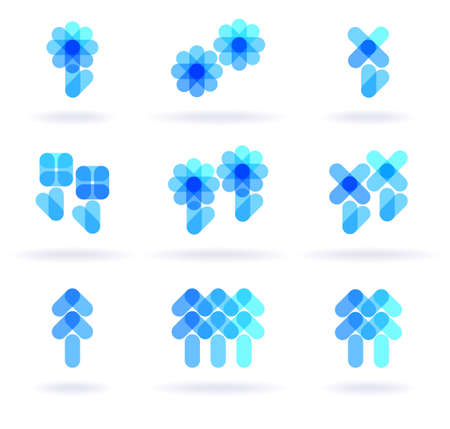 logos de empresas: Conjunto de nueve s�mbolos de bot�nica, vector eps8 ilustraci�n
