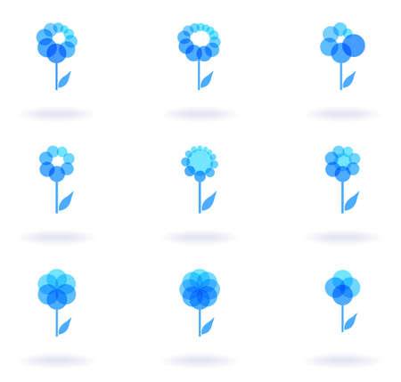 Set of nine flower icons, vector eps8 illustration Vector
