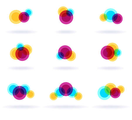 round logo: Set of nine colorful symbols, vector eps8 illustration Illustration