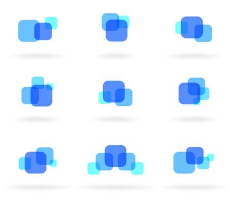 Set of blue design elements Vector