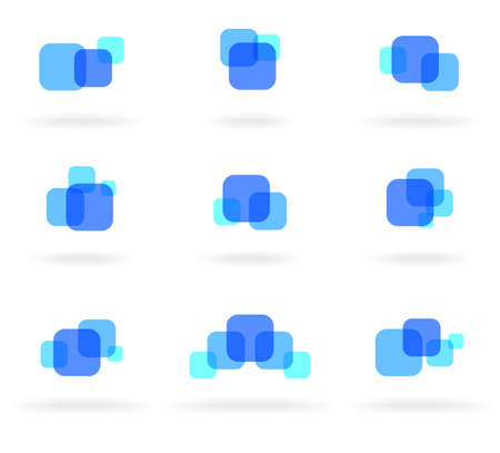 simple logo: Set of blue design elements Illustration