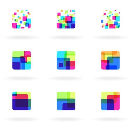 objetos cuadrados: Conjunto de elementos de dise�o colorido Vectores
