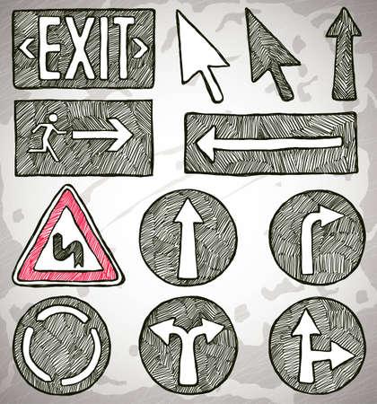Set of doodle arrows Vector