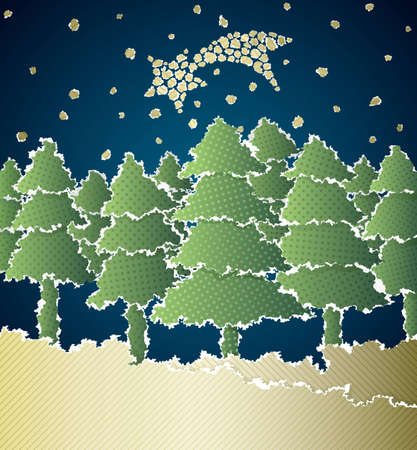 Christmas background made of torn paper Vector