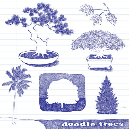 Set of doodle trees