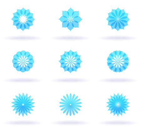 Set of nine flower icons Vector