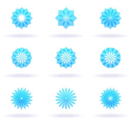 Set of nine flower icons