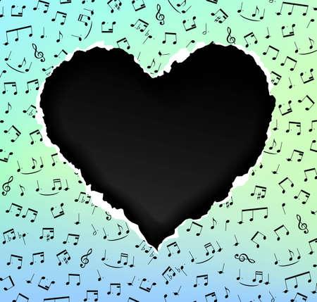torn heart: I love music, torn paper heart