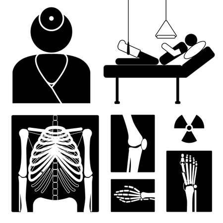 dolore ai piedi: Icon medica con x-ray immagini, medico e paziente Vettoriali