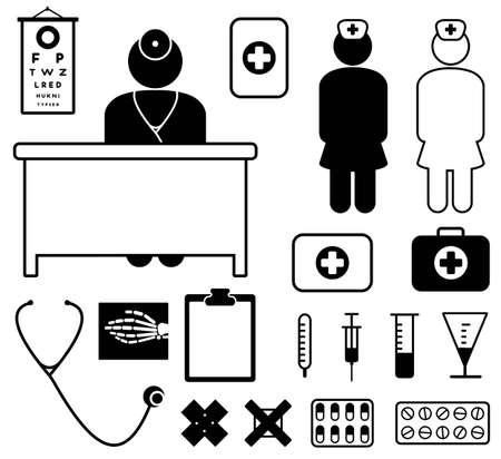 cross with care: Medical icon set