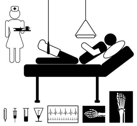 Paciente en el hospital con la enfermera, médico definido icono