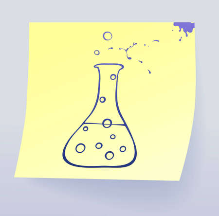 Chemistry icon, drawing on sticky paper Stock Vector - 10740803