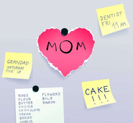 Heart made of torn paper with message for mom surrounded by sticky notes, Mothers Day Vector