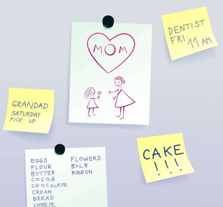 Drawing of mother and daughter, message for mom surrounded by sticky notes